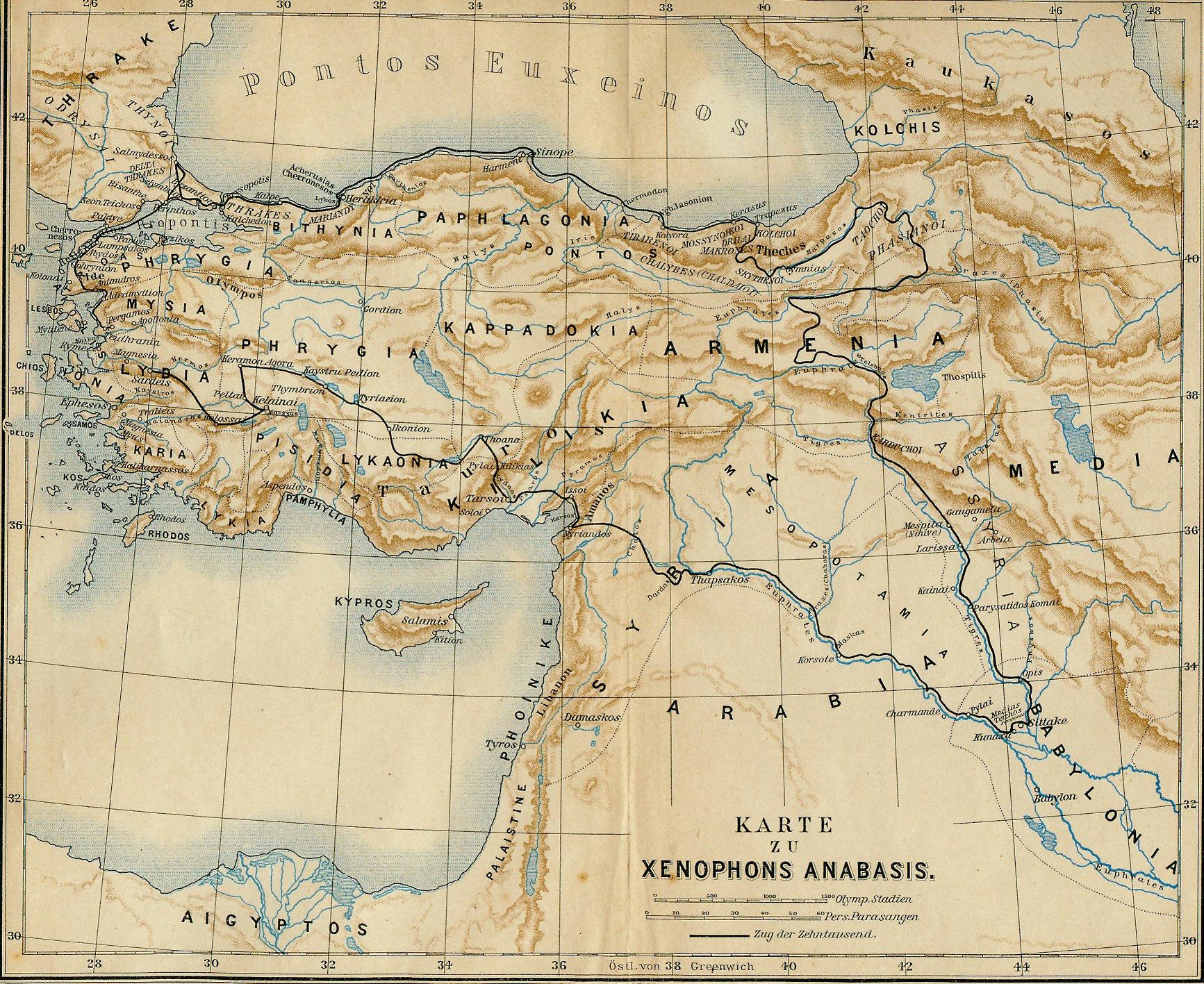 Landkarte zum Zug der Zehntausend in Xenophons Anabasis