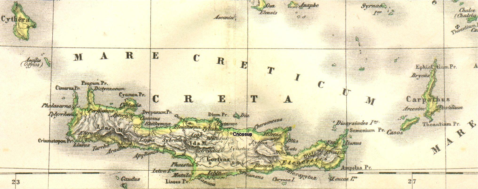 Landkarte Vom Antiken Kreta Im Lateinischen Link Lexikon