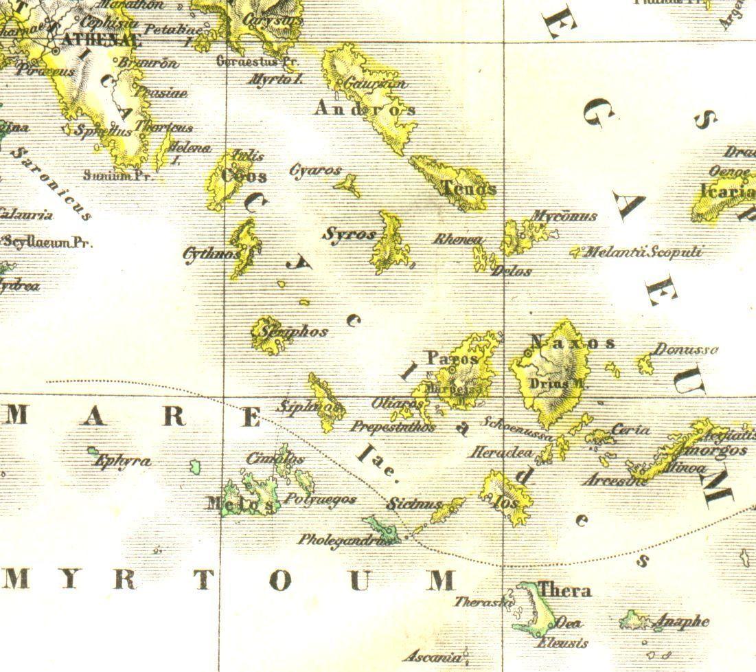 Kykladen Karte.Landkarte Von Den Griechischen Kykladeninseln Im Lateinischen Link