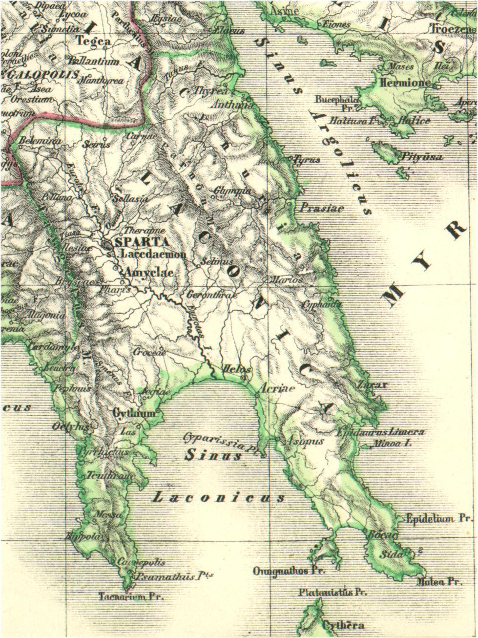 Landkarte Von Griechenland Lakonien Im Lateinischen Link