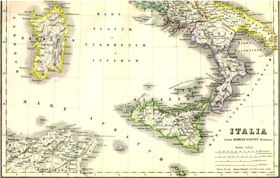 Landkarte Vom Antiken Italien Im Lateinischen Link Lexikon