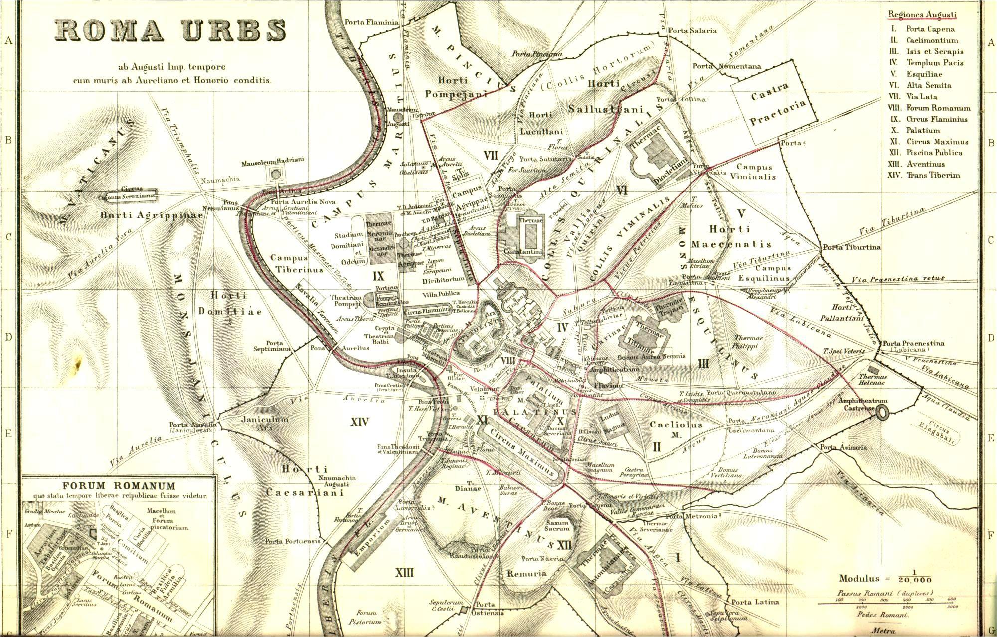 Stadtplan Des Antiken Rom Ab Der Zeit Des Kaisers Augustus Im